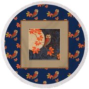 Round Beach Towel featuring the mixed media Owl And Moon On Midnight Blue by Nancy Lee Moran