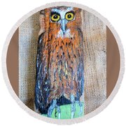 Owl Round Beach Towel by Ann Michelle Swadener