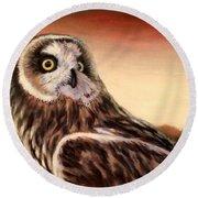 Owl At Sunset Round Beach Towel