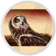 Owl At Sunset Round Beach Towel