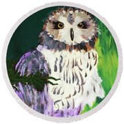 Owl Behind A Tree Round Beach Towel