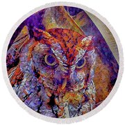 Round Beach Towel featuring the photograph Owl by David Mckinney