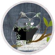 Owl Design - J140149146-v131b  Round Beach Towel