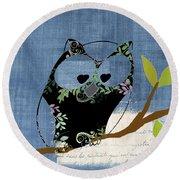 Owl Design - J140149146-v136bb Round Beach Towel