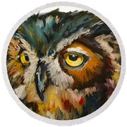 Owl Eye Round Beach Towel