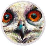 Owl Eyes - Detail Round Beach Towel