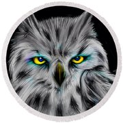 Round Beach Towel featuring the drawing Owl Eyes  by Nick Gustafson