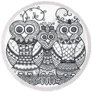 Owl Family Round Beach Towel