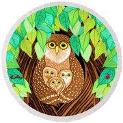 Owl Family Tree Round Beach Towel