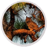 Owl In The Very Last Sunset Light Round Beach Towel