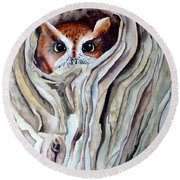 Round Beach Towel featuring the painting Owl by Laurel Best
