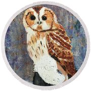 Owl On Snow Round Beach Towel