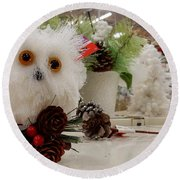 Owl On The Shelf Round Beach Towel