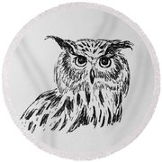 Owl Study 2 Round Beach Towel by Victoria Lakes