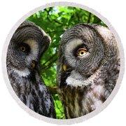 Owl Talk Round Beach Towel by Rainer Kersten
