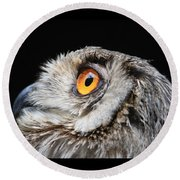 Owl The Grand-duc Round Beach Towel by Mary-Lee Sanders