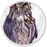 Owl Watercolor Round Beach Towel
