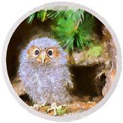 Round Beach Towel featuring the digital art Owlet-baby Owl by Maciek Froncisz