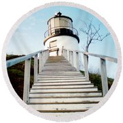 Owl's Head Light Round Beach Towel