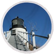 Owls Head Lighthouse Winter Round Beach Towel