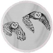 Owls In Flight Round Beach Towel