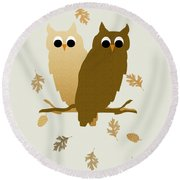 Owls Pattern Art Round Beach Towel by Christina Rollo