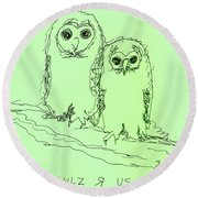 Owlz R Us Round Beach Towel