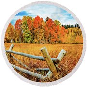Oxbow Bend Fall Color Round Beach Towel