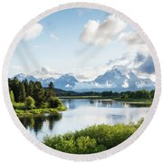 Oxbow Bend In The Grand Teton National Park Round Beach Towel