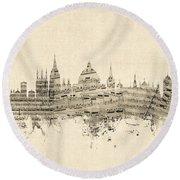 Oxford England Skyline Sheet Music Round Beach Towel