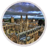 Oxford University - All Souls College Round Beach Towel by Yhun Suarez