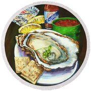 Oyster And Crystal Round Beach Towel