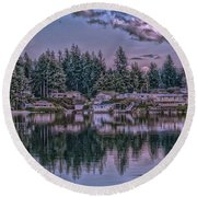 Round Beach Towel featuring the photograph Oyster Bay 1 by Timothy Latta