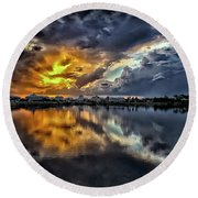 Oyster Lake Sunset Round Beach Towel