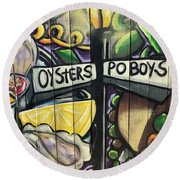 Oyster Poboys Round Beach Towel