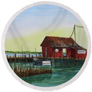 Round Beach Towel featuring the painting Oyster Shack by Jack G Brauer