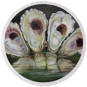 Oyster Shells Round Beach Towel by Phyllis Beiser