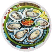 Oysters On The Half Shell Round Beach Towel by Dianne Parks