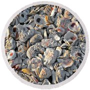 Oysters Shells Round Beach Towel