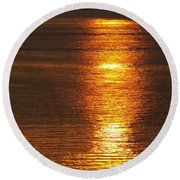 Round Beach Towel featuring the photograph Ozark Lake Sunset by Don Koester