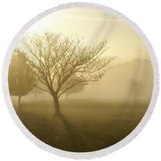 Ozarks Misty Golden Morning Sunrise Round Beach Towel