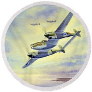 Round Beach Towel featuring the painting P-38 Lightning Aircraft by Bill Holkham