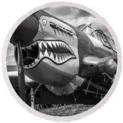 P-40 Warhawks - Bw Series Round Beach Towel