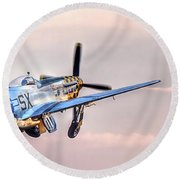 P-51 Mustang Taking Off Round Beach Towel