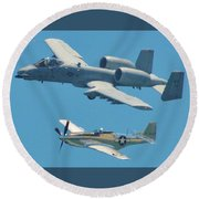 P 51d Mustang And A10 Warthog Tank Killer Round Beach Towel