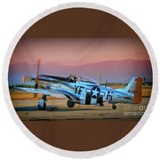 P-51d Mustang 'dakota Kid II. The Long Island Kid' And Casey Odegaard Round Beach Towel