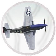 P-51 D Wing Over Round Beach Towel