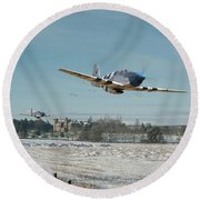 Round Beach Towel featuring the digital art P51 Mustang - Bodney Blue Noses by Pat Speirs