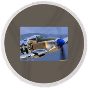 P51d Mustang At Salinas Round Beach Towel