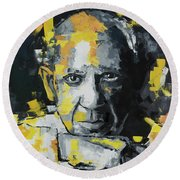 Pablo Picasso Portrait Round Beach Towel by Richard Day